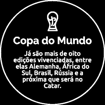 Copa do Mundo: Já são mais de oito edições vivenciadas, entre elas Alemanha, África do Sul, Brasil, Rússia e a próxima que será no Catar.