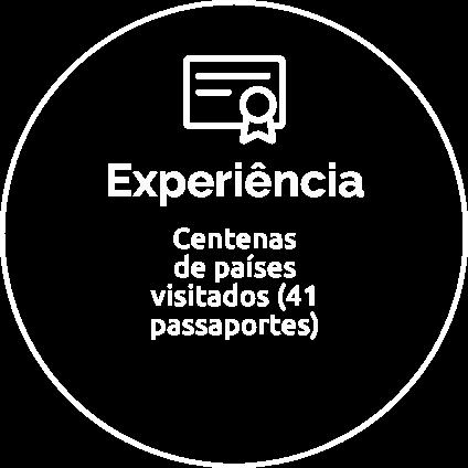 Experiência: Centenas de países  visitados (41 passaportes)