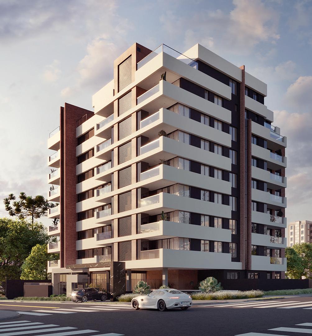 Fachada de edifícios com apartamento de alto padrão em Curitiba.