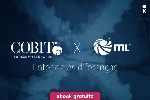 Capa de ebook com imagem formando um x entre o COBIT e ITIL