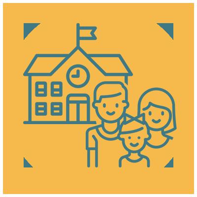 Ícone escola e família composta por homem, mulher e criança