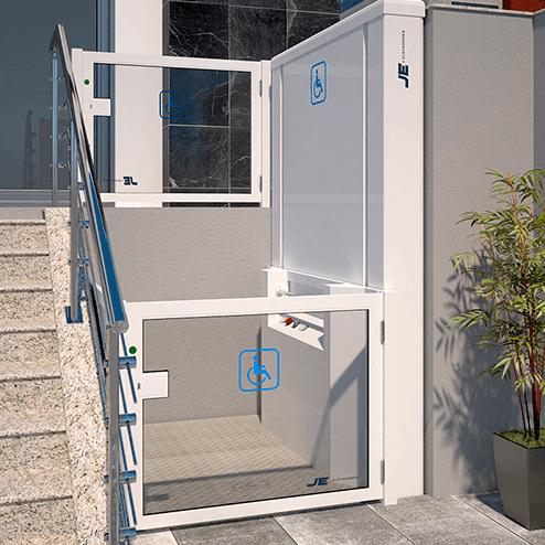 Elevadores de acessibilidade para instalações externas (JE ELEVADORES)