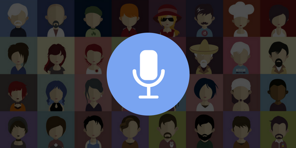 Ilustração de um microfone de narração e diversas ilustrações de retratos de pessoas diferentes ao fundo