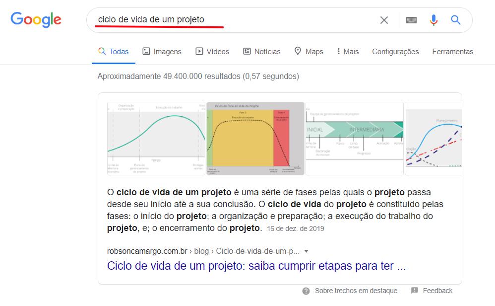 Resultados na SERP do Google - resultado zero