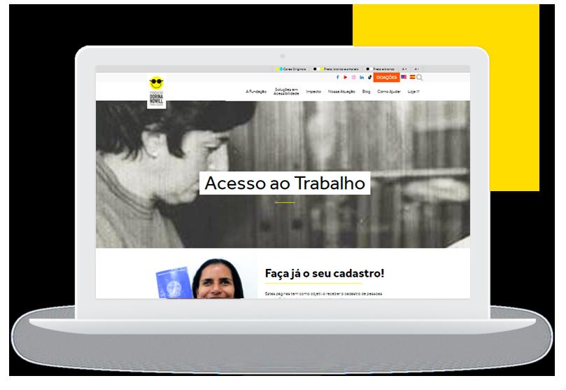 Imagem ilustrando um notebook aberto e na tela aparece a página de empregabilidade da Fundação Dorina, com o título