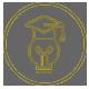 Ícone cinza, com ilustração de uma lâmpada com um chapéu de formatura, dentro de um círculo.