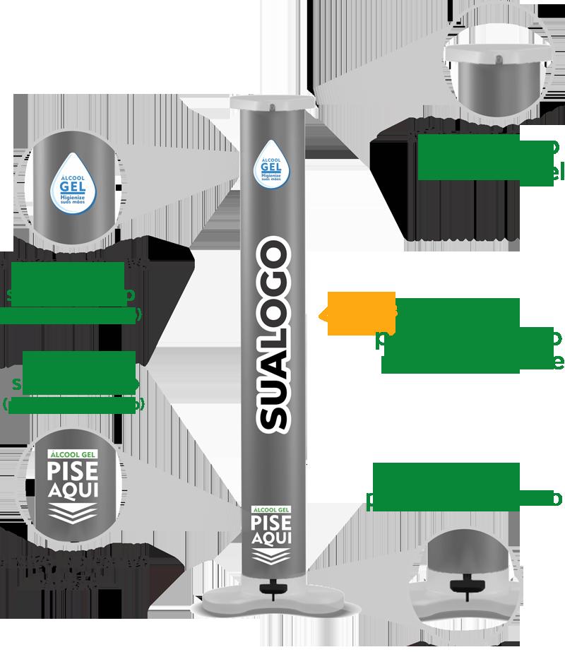 Dispenser alcool em gel personalizado para empresas