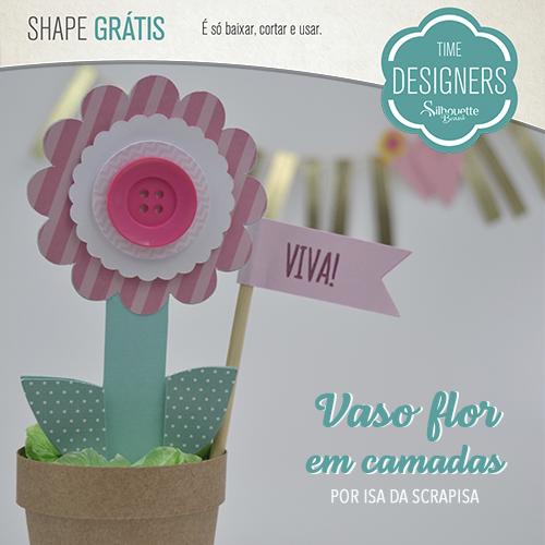 Shapes Grátis - Vaso de Flor em Camadas de Papel