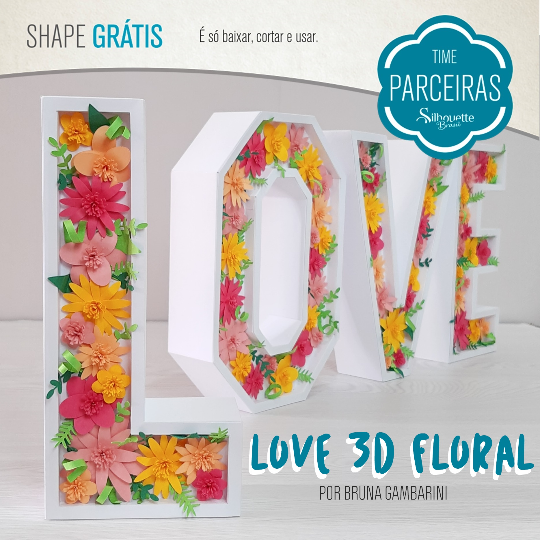 Shapes Grátis - LOVE 3D Floral