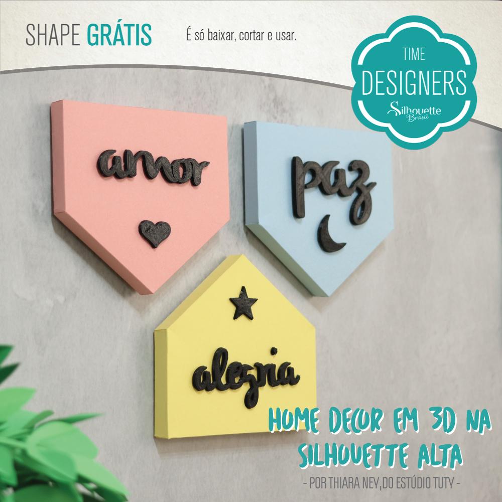DIY - Letras 3D na Silhouette Alta Molde Grátis Silhouette