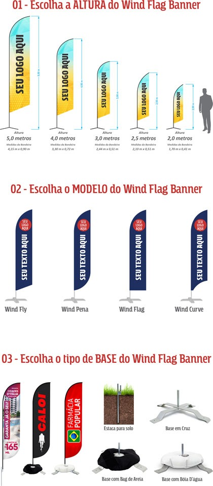 Tamanhos dos Wind Flag Banners da GoBanners