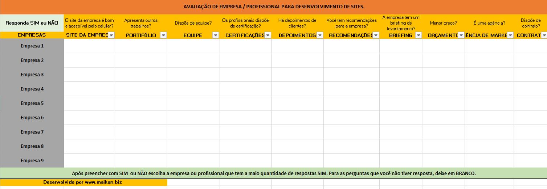Criação de sites:Planilha de avaliação.