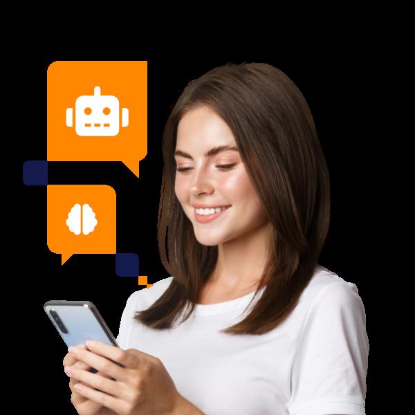 Garota com elementos de chatbot vuando em volta dela com celular na mão