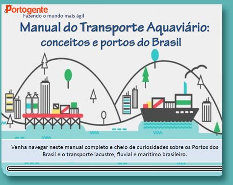 Capa do Manual do Transporte Aquaviário e portos do Brasil com a ilustração de um porto