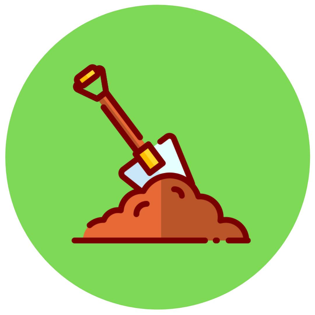 ícone pá e terra