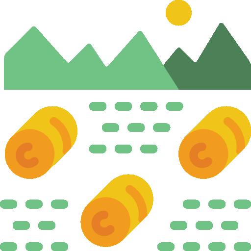 ícone campo com fardos de feno
