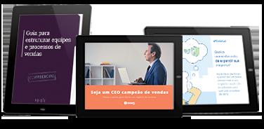 Kit Gestão Inteligente com os três eBooks abertos em tablets.
