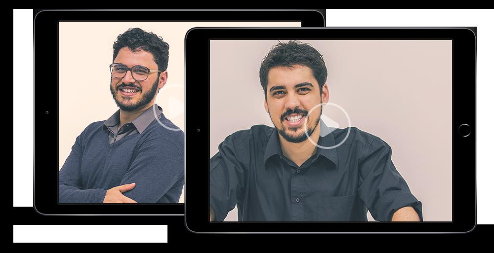 Dois tablets, um com a foto do palestrante Eduardo Rodrigues e o outro do palestrante Théo Orosco